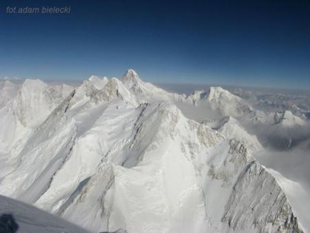 Wyprawa na Gasherbrum I - widok ze szczytu GI na K2 i Broad Peak (fot. Adam Bielecki)