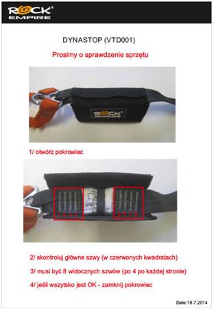 Wezwanie do sprawdzenia amortyzatorów w lonżach DYNASTOP Rock Emipre i innych produktach