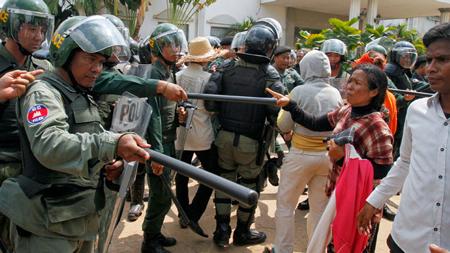 Protesty w Kambodży (fot. Reuters)