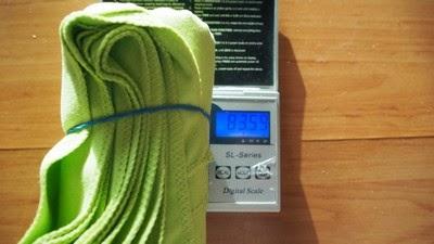 Test ręczników szybkoschnących- ważenie suchych ręczników