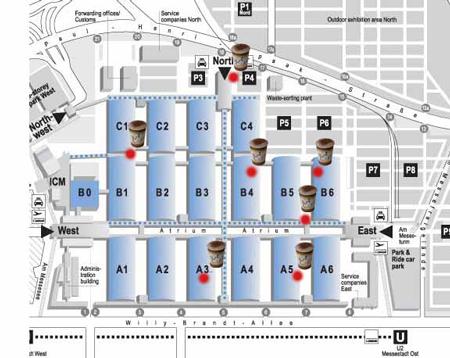 ISPO Munich, mapka z kawiarniami ART-CAFE