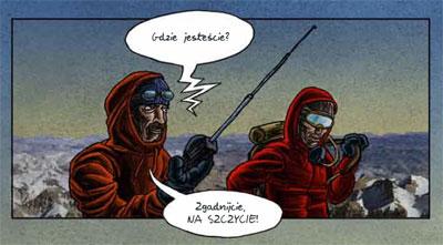 Krzysztof Wielicki i Leszek Cichy na wierzchołku Mount Everest