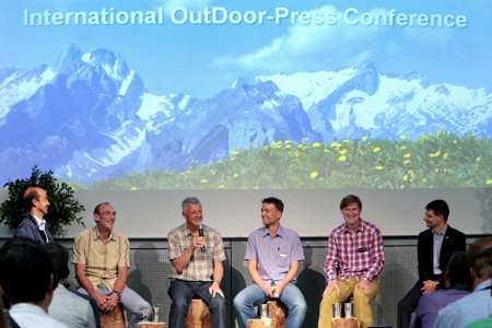 OutDoor 2013 - International OutDoor Press Conference: Frederic Hufkens, CEO A.S. Adventure, Bernd Kullmann, CEO Schwan-Stabilo Outdoor, Vize-Präsident EOG, Mark Held, Secretary General, European Outdoor Group (EOG), Stefan Reisfot. Messe Friedrichshafen)