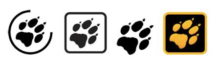 Nowe logo na produktach, po prawej logo do zewnętrznej reklamy na froncie sklepu Jack Wolfskin