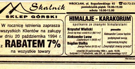 Ogłoszenie prasowa na rocznicę firmy (fot. Skalnik)