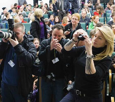 Dziennikarze na 11. KFG: od lewej Michał Łepecki z Gazety Wyborczej, Wojciech Matusik z Gazety Krakowskiej, Martyna Wojciechowsk
