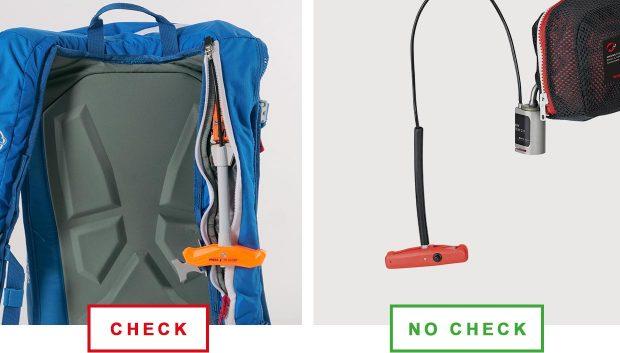 Wezwanie dotyczy plecaków z Airbag System 3.0, który ma rączkę wywalającą w kolorze pomarańczowym (po lewej)