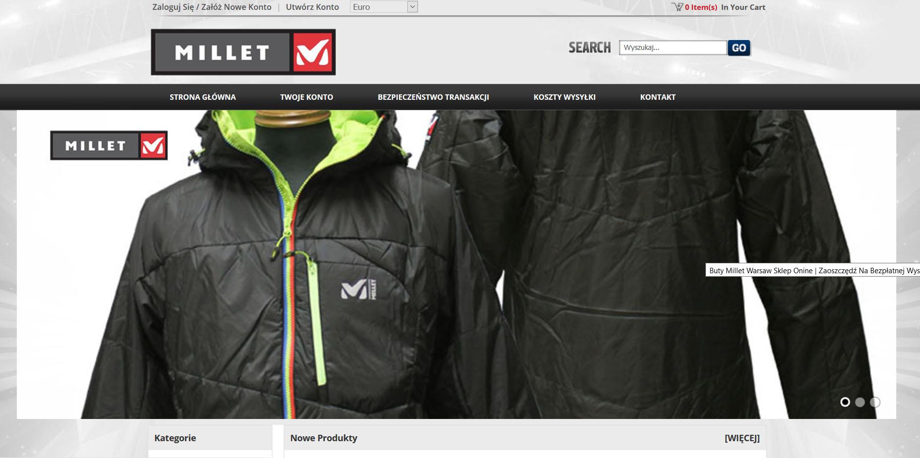 Millet przestrzega przed zakupami na stronie milletpolska.pl